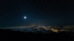 (hawaiiansupaman) Tags: longexposure nightphotography light moon night clouds canon stars landscape hawaii nightscape maui luna haleakala astrophotography nightsky moonset haleakalanationalpark kalahaku moonburst westmauimountain hawaiiansupaman