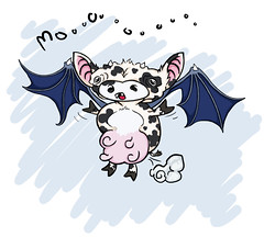 Moo-Bat go! (razzy-raspberry) Tags: illustration cow drawing bat moo goes sonar toot
