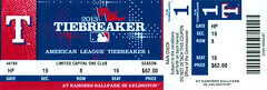 September 30, 2013, AL Tiebreaker Playoff Game, Texas Rangers vs Tampa Bay Rays, Ballpark in Arlington - Ticket Stub (Joe Merchant) Tags: game 30 arlington tampa bay al texas baseball ticket september american rays vs rangers stub ballpark league tiebreaker playoff 2013