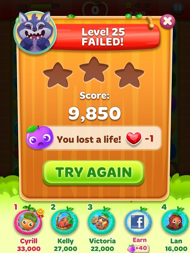 Fruit Splash Mania Level Failed: screenshots, UI