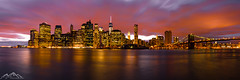 Manhattan Sunset (Abe Pacana Photography) Tags: new york city sunset panorama manhattan panoramic brooklynbridge