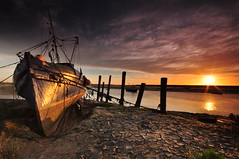 Essex Barling Hall Creek (daveknight1946) Tags: sunrise seascape fishingboat old mud ropes sun greyclouds river greatphotographers