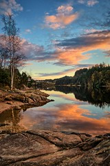 Eivindsvatnet, Norway (Vest der ute) Tags: g7x norway rogaland djupadalen haugesund waterscape water landscape clouds trees reflections mirror rocks fav200