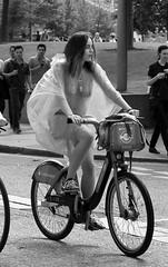 London Rain (Le monde d'aujourd'hui) Tags: santander bank rain nude naked seethrough worldnakedbikeride lonfon summer june 2016 bike ride protest nakedcyclustsstreetsstreetsouth bicycle cycling wnbr