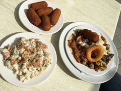 """Tapas for lunch: Croquetas (€1.90), Ensaladilla Rusa (€1.90) and Plato Variado Grande (€6).  Mallorca. Spain. Oct 2016 #itravelanddance • <a style=""""font-size:0.8em;"""" href=""""http://www.flickr.com/photos/147943715@N05/30200064241/"""" target=""""_blank"""">View on Flickr</a>"""