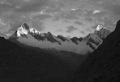Quitaraju ( 6040m )& Alpamayo ( 5947m ). (clicheforu) Tags: clicheforu quitaraju alpamayo santacruz andes corldillera huaraz mountain peak top altitude height landscape nature peru discover explore andinismo alpinism bw blackwhite hike trek light