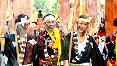 Smiles (Bamboo Barnes - Artist.Com) Tags: bamboobarnes digitalart painting photo vivid red japan ritualdancer tradition asia orient yellow green blue black
