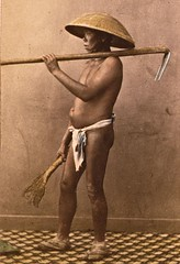 Japanese scavenger in summer dress ca1870 (SSAVE w/ over 6.5 MILLION views THX) Tags: japan japanese customs costumes lifestyle 1870 fundoshi underwear man loincloth coolie scavenger