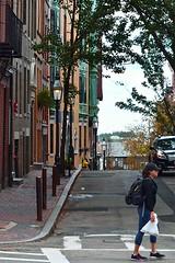 Crossing Myrtle (AntyDiluvian) Tags: boston massachusetts hill beaconhill street myrtlestreet crossing girl woman