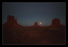 Mittens & Moon (Seeing Things My Way...) Tags: monumentvalley arizona utah usa monument rock stone sunset desert evening sundown dusk mitten moonrise