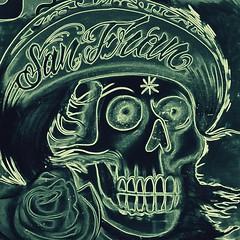 San Fran (Thomas Hawk) Tags: rose roses unitedstates unitedstatesofamerica clarionalley graffiti sanfrancisco missiondistrict skull usa california fav10