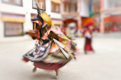 A Buddhist monk whirls during a sacred dance. (Leonid Plotkin) Tags: asia buddhism buddhist celebration cham dance dancing festival india ladakh lamayuru religion ritual tsam