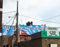brewing & soil (ekelly80) Tags: michigan thanksgiving november2016 roadtrip easternmarket roofs rooftops brewery organicsoil sign easternmarketbrewing mural art