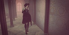 contemplation (likethewaves) Tags: secondlife sl slphotography photography photo fashion flapper 20s 1920s goth gothic black style interior corridor contemplation vintage retro antique muted filter dark pillars gloves dress fascinator