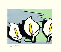 Asian skunk-cabbage (Japanese Flower and Bird Art) Tags: flower asian skunkcabbage lysichiton camtschatcensis araceae saburo miyata modern woodblock print japan japanese art readercollection