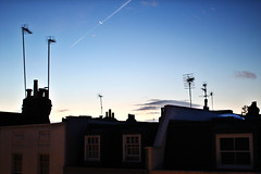 dawn (Katrinitsa) Tags: london2016 london uk greatbritain british england europe colors travelphotography travel morning canon canoneosrebelt3i sunset light dawn sky blue skyview roofs rooftops antennas nottinghill moon clouds clear ef35mmf14lusm city cityscape architecture outdoors