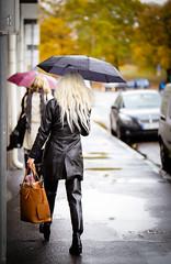 Where is she going? (PhotographerJockeFransson) Tags: leather latex boots overkneeboots overknee rain autumn outdoor 85mm tamron sweden