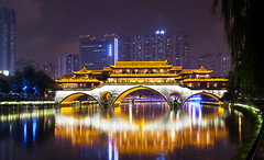 Anshun (Dongmen) Bridge - Chengdu (Sichuan) - China (Rogg4n) Tags: 安顺桥 china nightphotography night chengdu sichuan city cityscape jin architecture canoneos100d efs18135mmf3556isstm travel river bridge buildings asia nightscape landscape dawn twilight skyline longexposure reflection reflect lantern traditional anshun dongmen evening bluehour 中国 urban