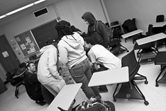 Atop (Brotha Kristufar) Tags: youth students monochrome monochromatic blackandwhite closeup wideangle fun activity nyc ny bronx lehmancollege college highschool school learn learning lesson lessons future intellect intelligence smart class classroom indoors indoor explore explored canon 50mm flash views courage city collaborate team teamwork culture cultured art artists artistry