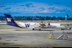 "SEA.2009 # QX - Q400 N435QX ""Washington Huskies"" awp (CHRISTELER / AeroWorldpictures Team) Tags: seatac washington étatsunis horizon air de havilland canada dhc8402q dash 8 cn 4232 reg n435qx painted washingtonhuskies special colours engines 2x pwc pw150a history aircraft 16oct2008 first flight test cfuco toronto downsview yzd 29jan2009 delivered horizonair qx qxe config cabin y74 livery huskies q400 apron gate seattle airport sea ksea usa wa turbo towing football us university plane aircrafts planespotting d80 zoomlenses nikkor lightroom nikonflickrtrophy"
