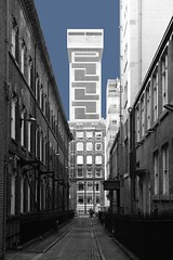 Ormond Street (Towner Images) Tags: unity african oldhallstreet ormondstreet bixtethstreet liverpool city urban businessdistrict towner townerimages cobbles thealbany cottonexchange bw narrow singlecarriageway