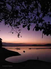 Evening hues (Dipankar Bordoloi) Tags: evening sky river brahmaputra boat fisherman fishingnet fishing guwahati assam northeastindia northeast walk tree silhouette