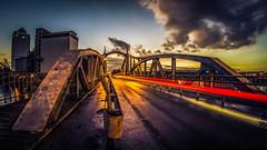 Sunset at the old harbour bridge (Norbert Clausen) Tags: architektur architekture hafen harbor traces rhein rhine brcke