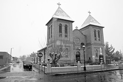 San Albino Catholic Church, Masilla, New Mexico (Laveen Photography (aka cyclist451)) Tags: bw white black newmexico church catholic basilica historic nm mesilla snowchristmas
