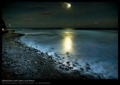 Gerrigong Beach (Toma Iakopo | Tomojo Photography) Tags: moon seascape reflection night clouds stars sand rocks waves south tide pebbles moonrise shore anchor moonlight ripples southcoast tidal hdr