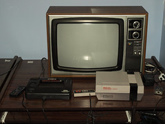 Sega Master System and NES (RS 1990) Tags: wood television crt retro sanyo nes 8bit 1980s oldskool mattel sms nintendoentertainmentsystem segamastersystem telecolor