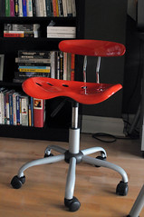 9 (DIY Del Ray) Tags: red alexandria modern office chair delay industrial books after renovation remodel rowhouse ecofriendly casters hometour