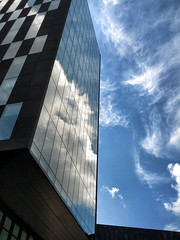 Clouds in glass (xstex) Tags: blue windows sky reflection glass clouds liverpool mirror galaxynexus