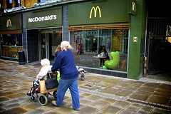 CR - ZERO series (Richard Dargan) Tags: uk green chair mcdonalds shopwindow croydon hamburgerchainwheelchair woman6580 man5070