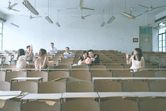Wedding Day (HIKARU Pan) Tags: wedding boy woman man love girl photography bride asia shanghai classroom classmate chinese documentary weddingdress bridegroom youngwoman youngman china1 35l canonef35mmf14lusm shanghaimaritimeuniversity 5d3