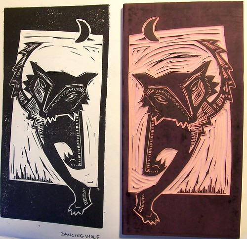 dancing wolf block and test print of image