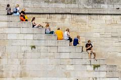 Lazy Day in Paris (Kathy~) Tags: 2013 asia june paris city people fun lazyday hangingbytheriver steps stairs france favescontestwinner herowinner friendlychallengessweep challengegamewinner 15challengeswinner instagram