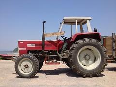 . (OverdeaR [donkey's talking monkey's nodding]) Tags: tractor river traktor danube 4s iphone srbija dunav djerdap iphonography uploaded:by=flickrmobile flickriosapp:filter=nofilter