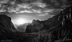 A Peaceful and Happy 4th of July from Yosemite Valley in B&W (Kris Kros) Tags: california ca trees sky blackandwhite bw cliff white black mountains clouds photoshop sunrise adams valley yosemite gateway kris welcome fusion hdr kkg topaz lightroom sierramadre ansel photomatix kros kriskros hdrunleashed