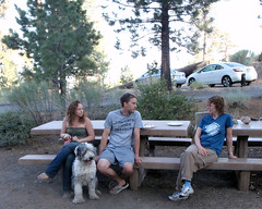 042 Some Before Dinner Conversation (saschmitz_earthlink_net) Tags: california dog table picnic orienteering mtpinos lospadresnationalforest kerncounty 2013 laoc losangelesorienteeringclub mcgillcampground