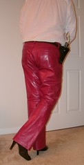 Red Leather Jeans (Cowgirl Boot Fan) Tags: leather gun highheels boots gap jeans ninewest