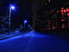Blue Street (masteruser1999) Tags: blue night canon germany deutschland essen nightshot nacht availablelight sommer kunst bluesky clear nrw ruhrgebiet zollverein kokereizollverein nachtaufnahme kokerei weltkulturerbe denkmal g12 longtimeexposure ipad industriekultur industrialculture 2013 masteruser1999 canong12