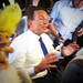 Tony Abbott joins the campaign bus