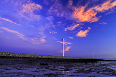 lovely clouds (Thunderbolt_TW) Tags: sunset sea sky sun reflection water windmill canon landscape taiwan     windturbine  changhua       hsienhsi  changpingindustryarea