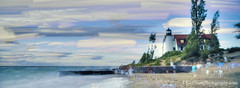 Pt Betsie Lighthouse ... painterly (Ken Scott) Tags: summer usa painterly michigan august lakemichigan greatlakes freshwater benziecounty 45thparallel 2013 fhdr ptbetsielighthouse panoramacrop 100stackedphotos