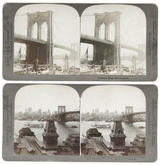 f_stereo_brooklynbridge (ricksoloway) Tags: newyork bridges stereo brooklynbridge foundphotos vintagestereo vintagenewyork phototrouvee vintagebridges