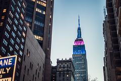 Empire State Building illumin (liryc30) Tags: new york nyc blue light building colors 35mm nikon state lumire couleurs manhattan may illumination mai hour esb empire nikkor f18 2015