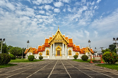 Wat  Benjamabopit1 (santifoto9) Tags: old travel blue vacation sky building art history tourism architecture asian thailand temple gold daylight ancient worship asia exterior ben bangkok buddha buddhist famous religion pray sightseeing culture royal buddhism grand landmark palace tourist historic thai destination historical marble spirituality oriental wat majestic siam cultural benchamabophit benjamabopit benjamaborphit