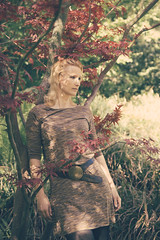 Fashionable (dawolf-) Tags: woman sun nature grass leaves belt dress naturallight shade blonde leaning