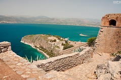 07 View from Palamidi Fortress (kana movana) Tags: nafplion nafplio greece greek view viewpoint palamidi bourtzi panorama history historic old town europe european d90 summer sunny architecture building bay coast coastline hill