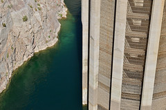Detail of Hoover Dam Water Intake Tower (dr_marvel) Tags: hoover hooverdam dam water intake nevada arizona power hydroelectric electricity mead lakemead lowwater rocks cliff